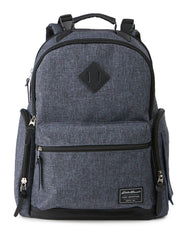 Eddie Bauer Places & Spaces Bridgeport Diaper Backpack- Navy Crosshatch with Black Trim