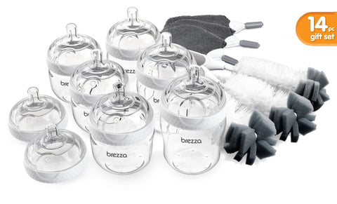 Baby Brezza Premium Bottle Gift Set:  14 Pieces - Baby Bottles Gift Set - Baby Brezza