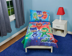 Bedding Set | PJ Masks CatBoy Owlette Gekko 4-Piece Toddler Bedding Set