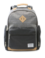 Diaper Bags | Eddie Bauer Places & Spaces Bridgeport Diaper Backpack- Two-Tone Grey Crosshatch with Tan Trim