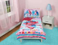 Bedding Set | Trolls Cupcakes and Rainbows 4-Piece Toddler Bedding Set