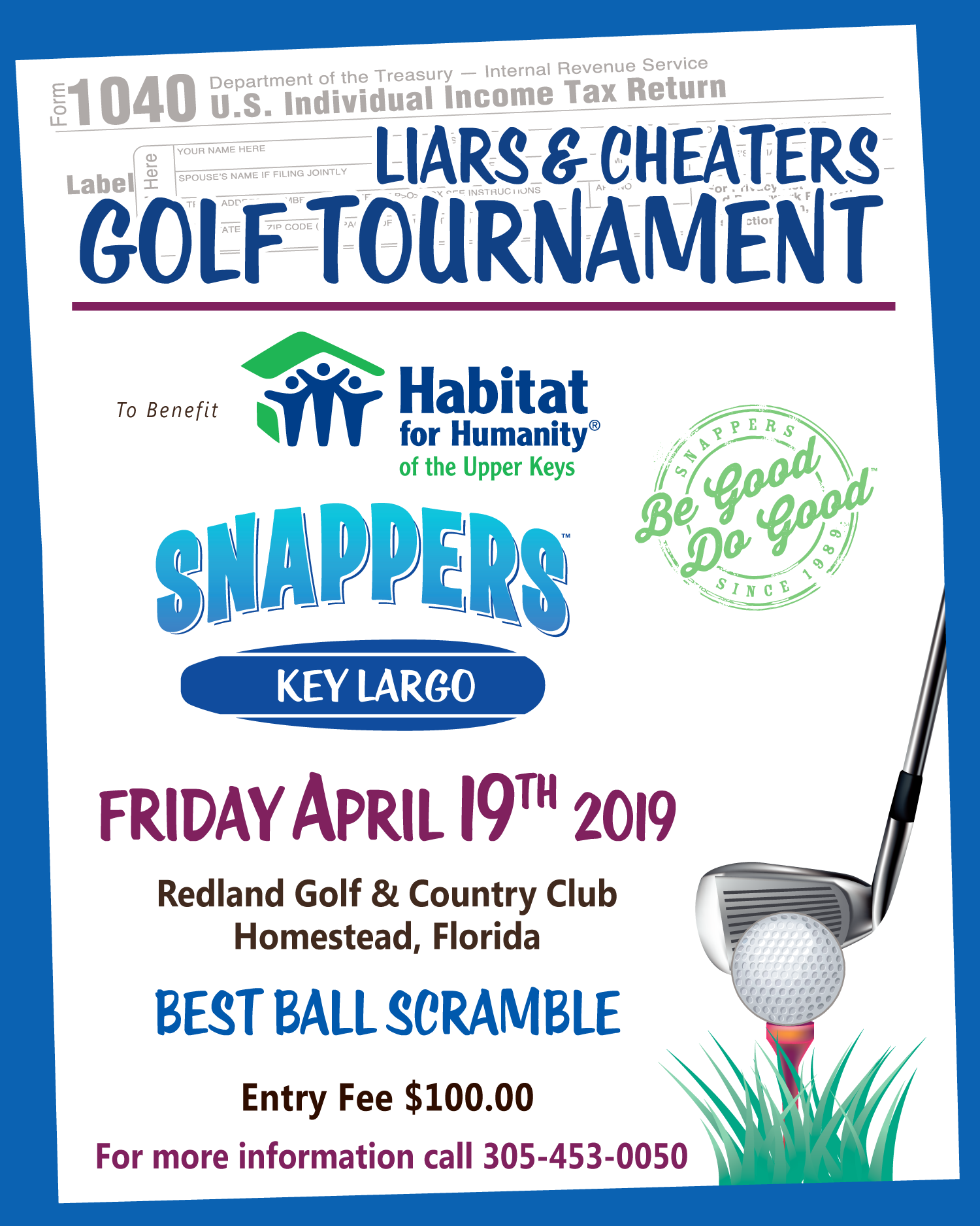 Liars & Cheaters Golf Tournament – Snappers Key Largo