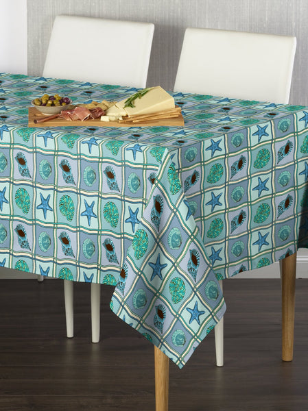 Shell Patches Blue Rectangle Tablecloths