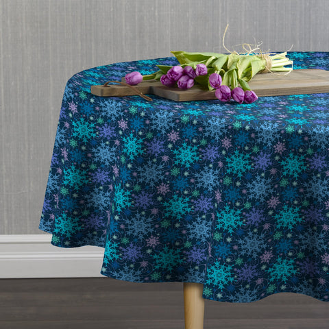 Snowflakes and Swirls Round Tablecloths