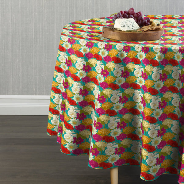 Spring Bouquet Teal Round Tablecloths