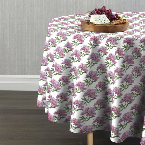 Spring Peonies Pink Round Tablecloths