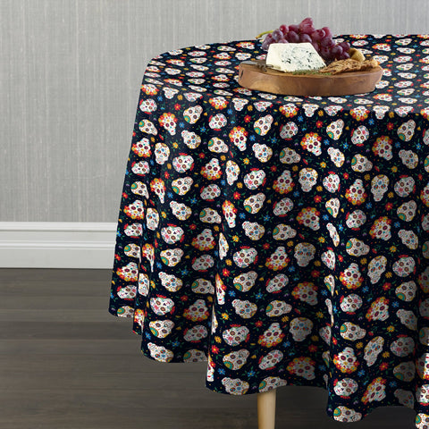 Traditional Flower Skulls Round Tablecloths