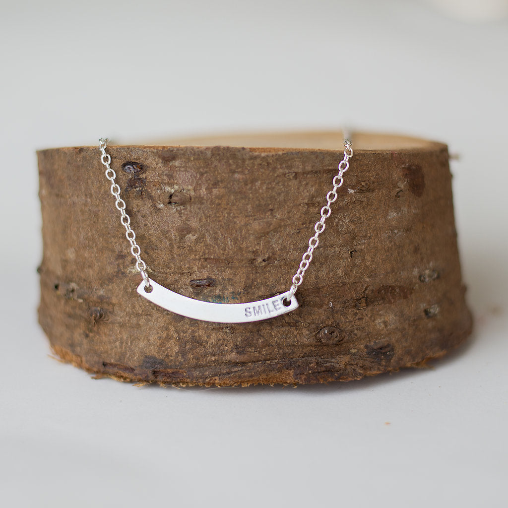 Silver Bar S.M.I.L.E. Necklace