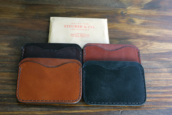 Clay Pocket Wallet available in Thoroughbred, Bourbon, Tobacco and Coal.  Steurer & Co. Leatherworks. Designer of SteurerJacoby vintage golf bags.