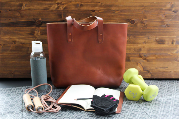 Mason Everyday Tote in Bourbon, Steurer & Co. Leatherworks, Leather Tote, SteuerJacoby Golf Club Desinger