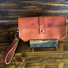 Load image into Gallery viewer, Steurer & Co. Leather Clutch, Veggie Tanned Leather, SteuerJacoby Golfbag Designer, Leather Wristlet, Handmade Leather Bags and Accessories