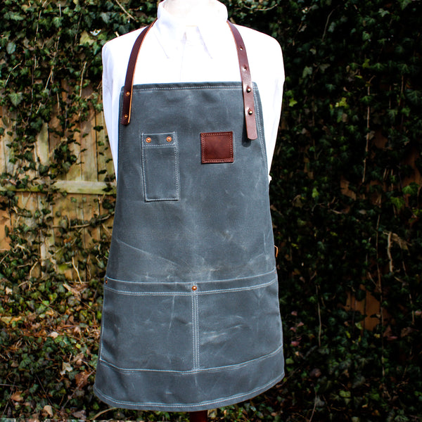 Steurer & Co. Waxed Canvas and Leather Apron. Louisville, KY, #10 Martexin Waxed Duck,