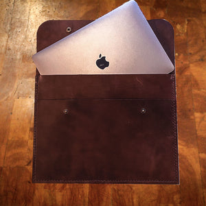 Leather MacBook Folio, Leather Computer Folio, Hand Stitched Leather, Made in Kentucky, Hand Crafted Leather Totes, Satchels & Accessories, Steurer & Co.