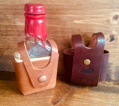 Steurer & Co. Dandy Flask, Makers Mark Bottle Holster, Leather Flask, Handmade in Kentucky