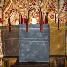 Load image into Gallery viewer, Double Sleeve Jessamine Spirit Tote, Made in Kentucky, Wine Tote, Bourbon Tote, Waxed Canvas