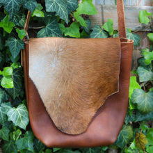 Load image into Gallery viewer, Steurer & Co. Leather, Bison & Hair on Hide Cross Body., Bison Festival Bag,Made in Kentucky, Handmade Leather Bags and Accessories