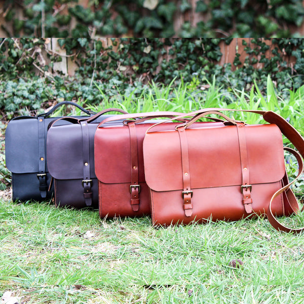 Steurer & Co. Lincoln Satchel Bourbon Front, Satchel, Handmade Leather Bags and Accessories