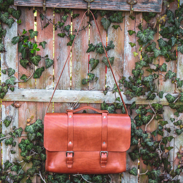 Steurer & Co. Lincoln Satchel, Veggie Tanned Leather, SteuerJacoby Golfbag Designer, Leather Briefcase, Handmade Leather Bags and Accessories
