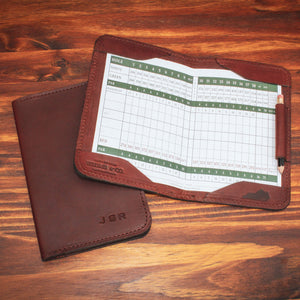 Steurer & Co. Leather Golf Score Card Holder. Made in Kentucky. Hickory Golf.