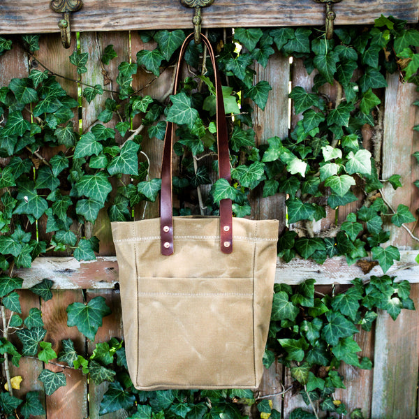 Steurer & Co. Waxed Canvas and Leather Market Tote, Handmade in USA, Made in Louisville, KY