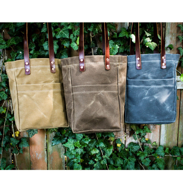 Steurer & Co. Waxed Canvas and Leather Bottle Tote, Handmade in USA, Made in Louisville, KY