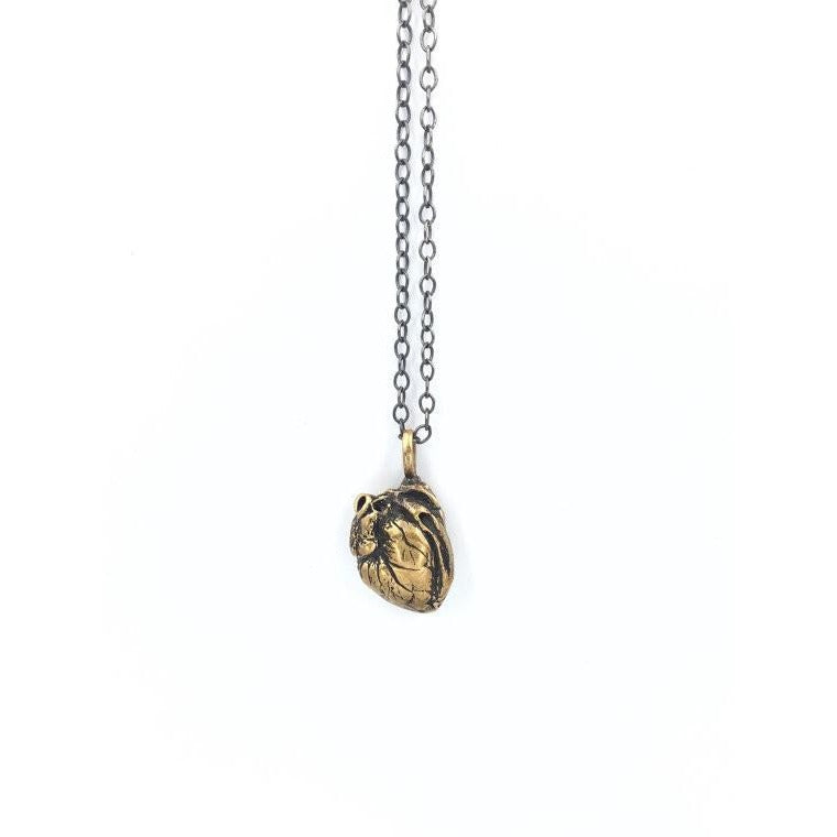 Anatomical Heart Pendant Bronze & Chain - Our Little Secret Shop