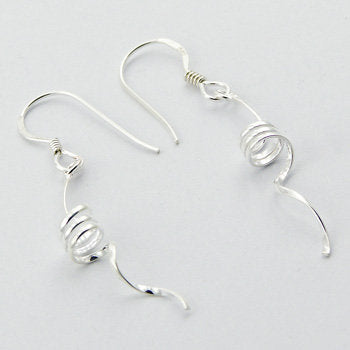 Curly Corkscrew Sterling Silver Spiral Dangle Earrings