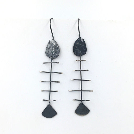 Fishbone Burnished Earrings - Our Little Secret Shop