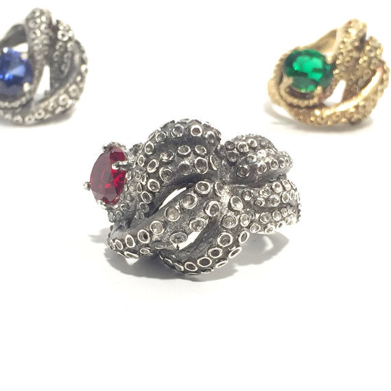 Kraken Ring with selected stone (Ruby, Sapphire or Emerald) - Our Little Secret Shop - Handmade Unique Jewellery