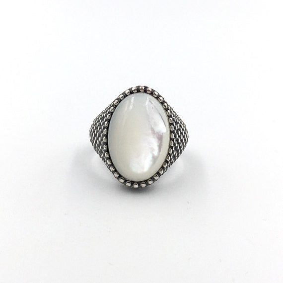 Oval White Granulation Ring - Our Little Secret Shop - Handmade Unique Jewellery