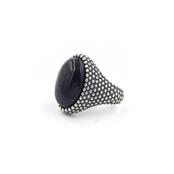 Oval Onyx Granular Ring - Our Little Secret Shop - Handmade Unique Jewellery