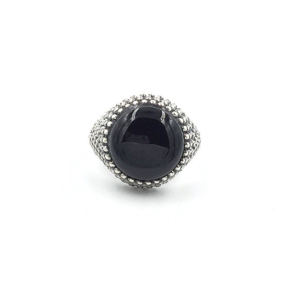 Round Onyx Granular Ring - Our Little Secret Shop - Handmade Unique Jewellery