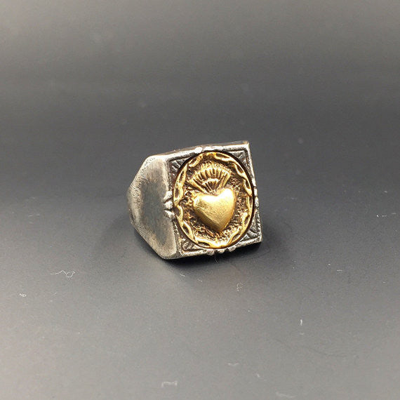 Sacred Small Square Heart Ring - Our Little Secret Shop - Handmade Unique Jewellery