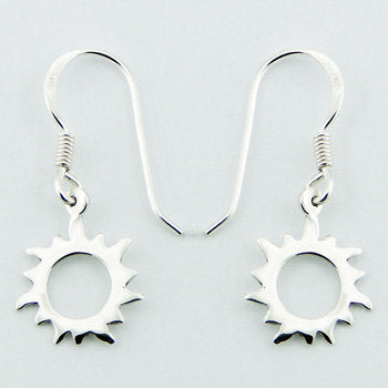 Small Open Sun Earrings Shiny Sterling Silver Danglers