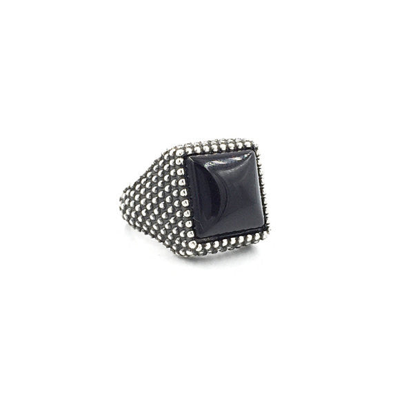 Square Onyx Granular Ring - Our Little Secret Shop - Handmade Unique Jewellery