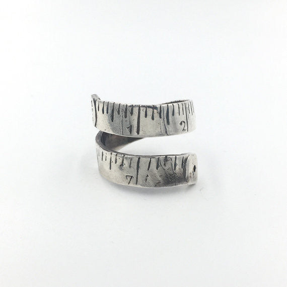Tailor Tape Silver Ring - Our Little Secret Shop - Handmade Unique Jewellery