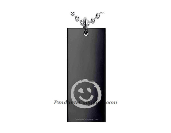 Smiley #2 Rectangle Pendant-Necklace