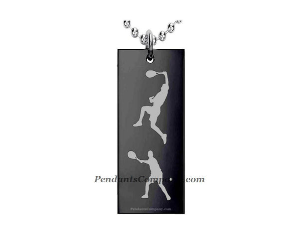 Tennis #2 Rectangle Pendant-Necklace