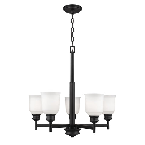 Millennium 5-Light Matte Black Chandelier - Batavia Electric Supply