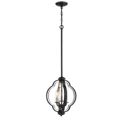 Millennium 3-Light Matte Black/Brushed Nickel Pendant - Batavia Electric Supply