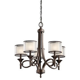 This 5 light chandelier from the Lacey™ Collection offers a beautiful contrast, melding the charm of Olde World style with clean modern-day materials. It starts with our new Mission Bronze™ Finish and bold, unadorned rounded-arm styling. It finishes with avant-garde double shades made of decorative mesh screens and satin etched white inner glass