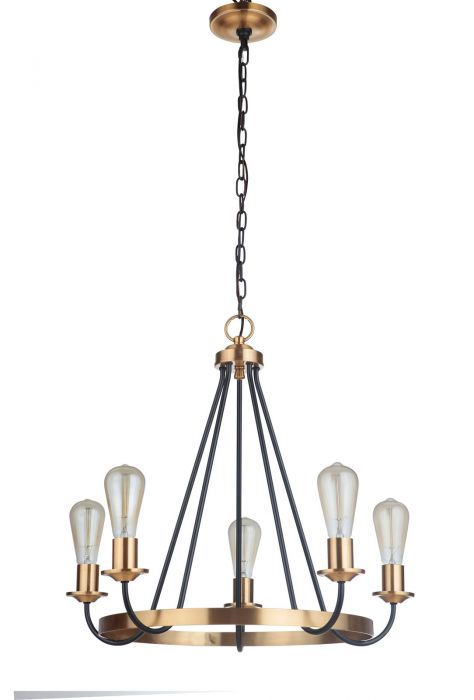 Craftmade 5-Light Black/Satin Brass Chandelier