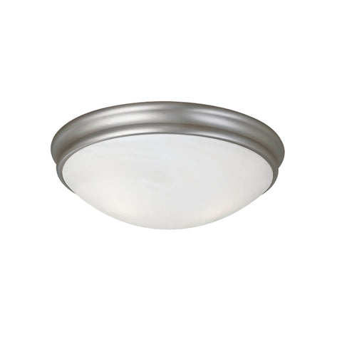 "5131SN  This 1-Light Flush Mount would look great in a hallway or a kitchen!  Satin Nickel Width: 10"" Height: 4.5"" Wattage: 100 Bulb: 1 Glass: Faux Alabaster Bulb not included"