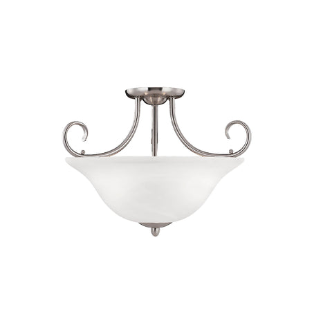 "53SN This 3-Light Semi-Flush would look great in a hallway or in a bedroom! Satin Nickel Width: 18""  Height: 13""  Wattage: 100  Bulb: 3 Glass: Faux Alabaster Bulbs not included"
