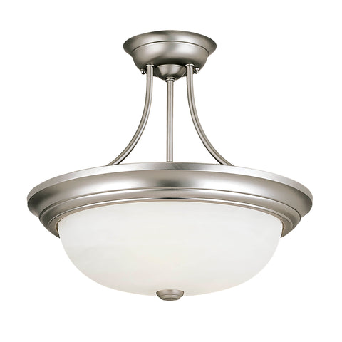 "575SN Are you looking for a light that looks simple but elegant? Check out this 3-Light Semi-Flush Mount from Millennium! Satin Nickel Width: 15""  Height: 15""  Wattage: 60 Bulb: 3 Glass: Faux Alabaster Bulbs not included Display model"