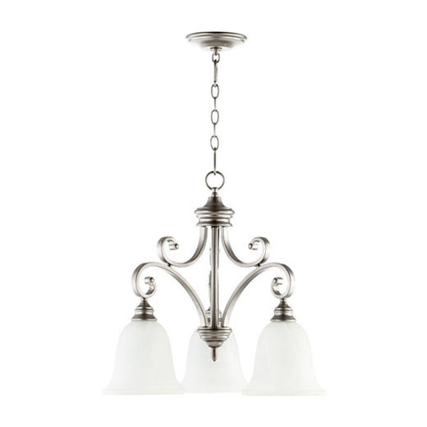 Quorum 3-Light Classic Nickel Chandelier - Batavia Electric Supply