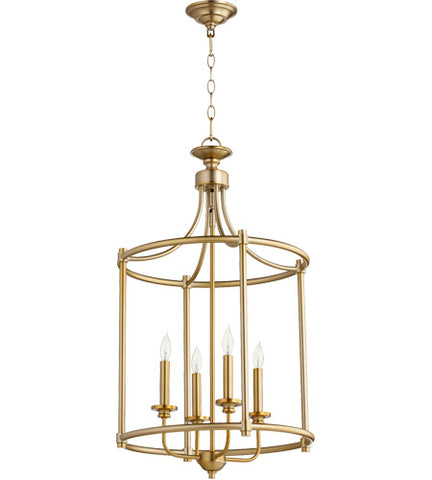 Quorum 4-Light Aged Brass Chandelier - Batavia Electric Supply
