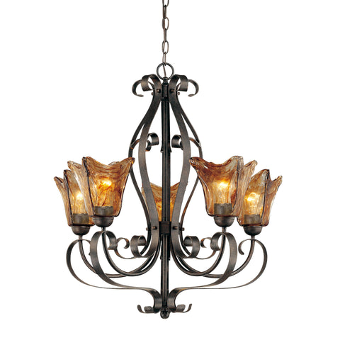 "7125BG If you are looking for a noteworthy chandelier with a sophisticated style this the perfect choice! This 5-Light Chandelier from Millennium features a burnished gold finish and glass with an umber swirl. Burnished Gold Width: 26"" Height: 28"" Wattage: 100 Bulb: 5 Glass: Umber Swirl Bulbs not included Display model"