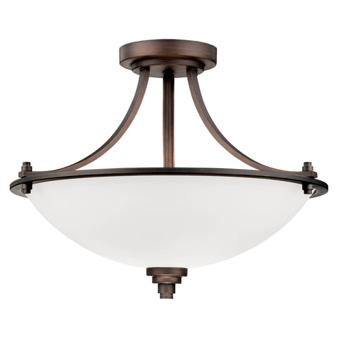 "7263RBZ This 3-Light Rubbed Bronze Pendant has a modern yet traditional style.  If you're looking for a mixture of both this would be perfect! Rubbed Bronze Width: 17.5"" Height: 13.5"" Wattage: 100 Bulb: 3 Glass: Etched White Bulbs not included Display model"