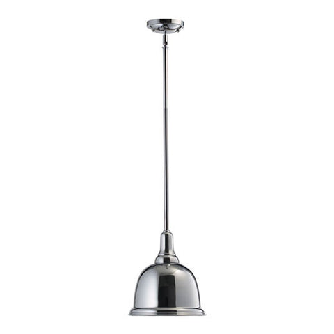 "802-10-14  Complete your kitchen decor with this 1-Light Chrome Pendant from Quorum!  Chrome Width: 10"" Height: 15.5"" Height adjustable with assorted rods- 2.8"", 2-12"" and 3-16"" rods included Lamping: (1) 100W Max. Bulb not included Display model"